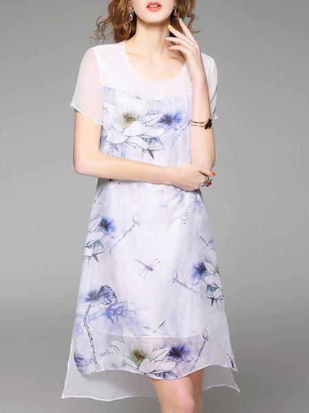 Pink Vintage Floral Asymmetric Silk Midi Dress