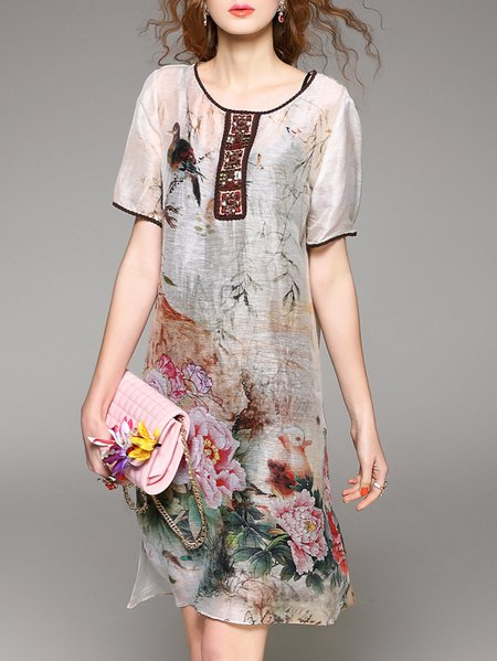 Half Sleeve Crew Neck Floral Silk Vintage Midi Dress