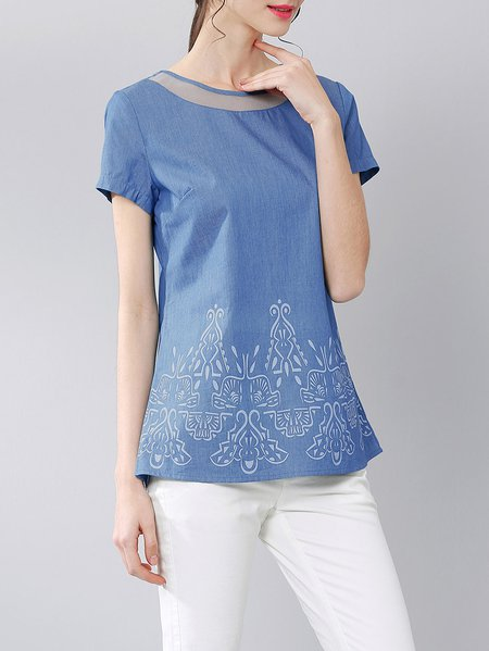 Blue Casual Crew Neck Short Sleeved Top