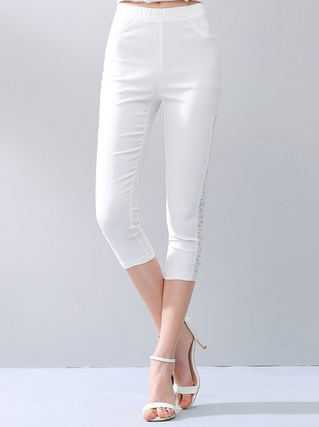 White Casual Plain H-line Skinny Leg Pants