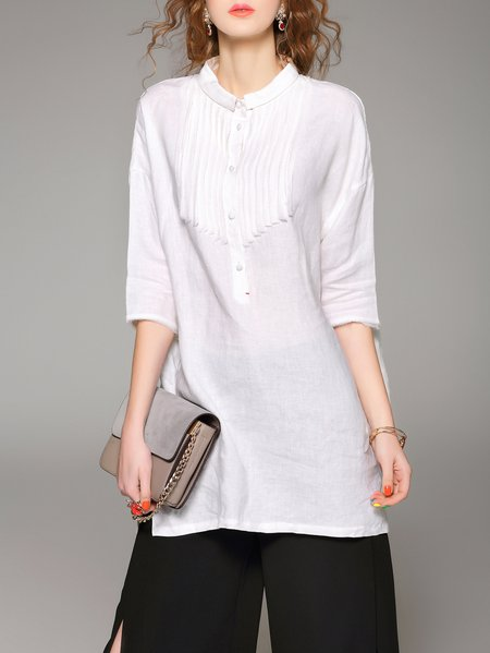 White Casual 3/4 Sleeve Linen Stand Collar Tunic