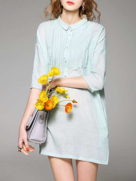 Green 3/4 Sleeve Stand Collar Tunic