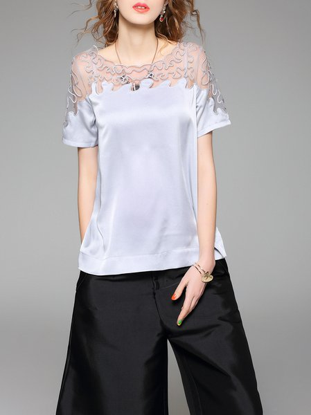 Gray Mesh Paneled Short Sleeve Crew Neck Plain Blouse