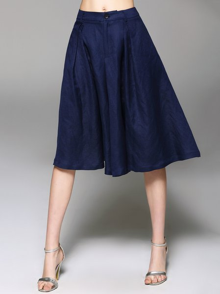 Royal Blue Simple Plain Slit Linen Wide Leg Pants