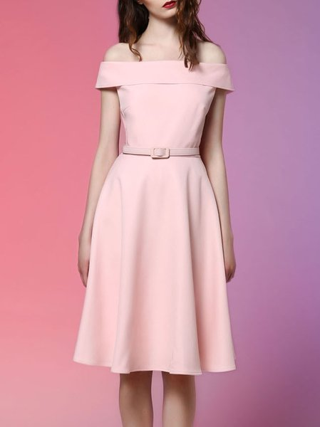 Pink Plain Simple Off-shoulder Midi Dress