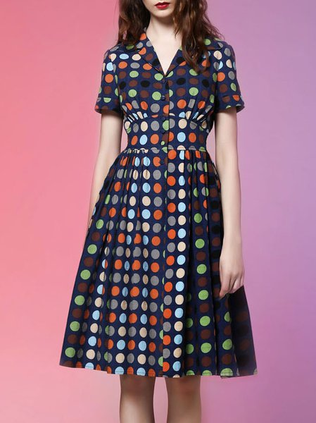 Blue A-line Sweet Printed Shirt Dress
