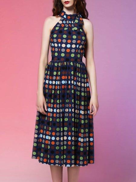 Sleeveless Polka Dots Sweet Midi Dress