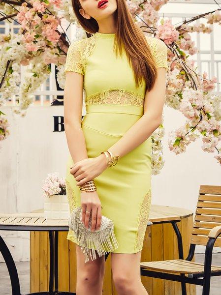Yellow Crew Neck Evening Bodycon Viscose Mini Dress