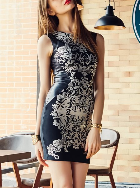Black Bodycon Cocktail Printed Mini Dress