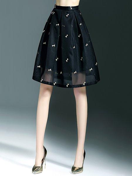 black embroidered a line simple midi skirt stylewe