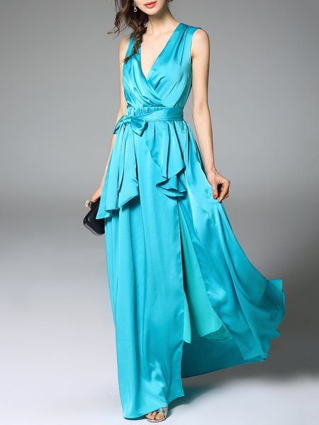 Blue Asymmetric Evening A-line Maxi Dress