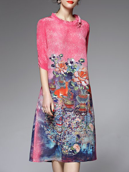 A-line Half Sleeve Floral Vintage Silk Midi Dress