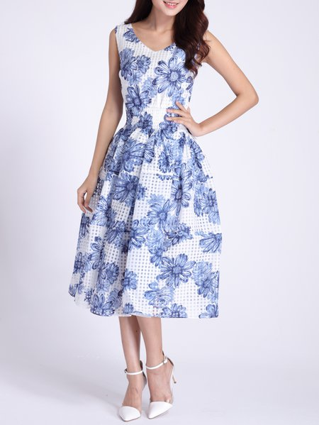 Blue Printed Sleeveless Midi Dress