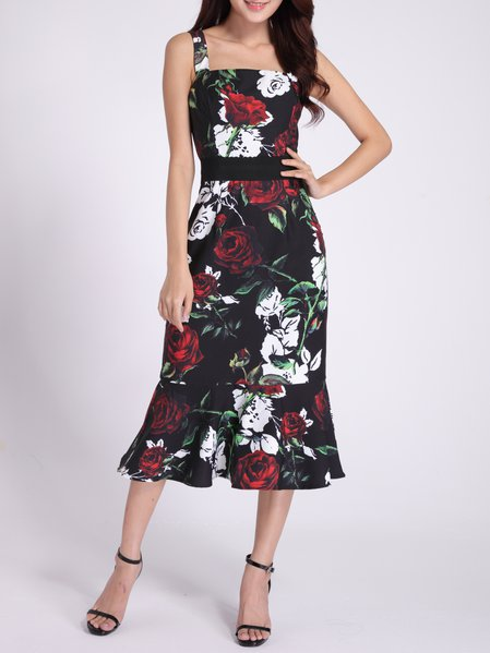 Black Ruffled Sleeveless Floral Midi Dress