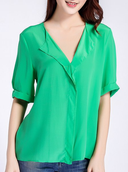 Green H-line Plain Half Sleeve Blouse