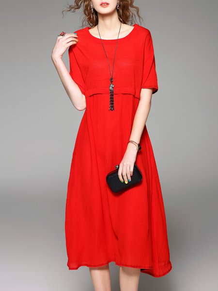 Red Plain Ribbed Shift Half Sleeve Midi Dress