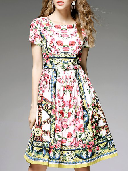 Multicolor Cotton Floral Printed Girly Midi Dress