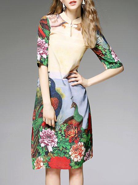 Multicolor Vintage Silk Stand Collar Midi Dress