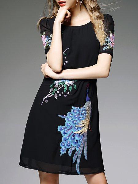 Black Embroidered Half Sleeve Mini Dress