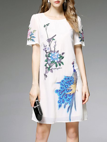White Embroidered Half Sleeve Mini Dress