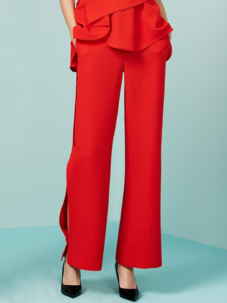 Red Polyester Plain Wide Leg Pants