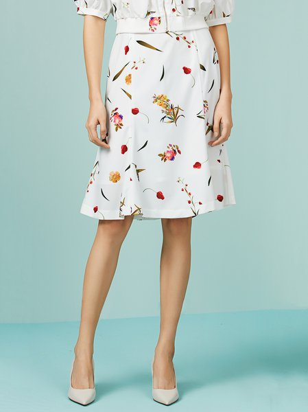 White Floral A-line Ruffled Midi Skirt