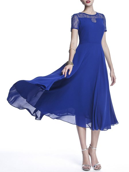 Blue Chiffon A-line Short Sleeve Midi Dress