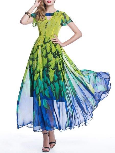 Green Floral-print Boho A-line Chiffon Maxi Dress