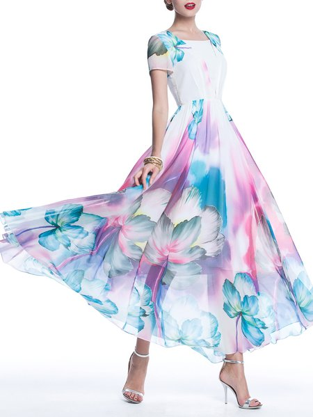 White Boho Chiffon Floral Maxi Dress