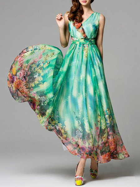 Sleeveless Chiffon Boho A-line Maxi Dress
