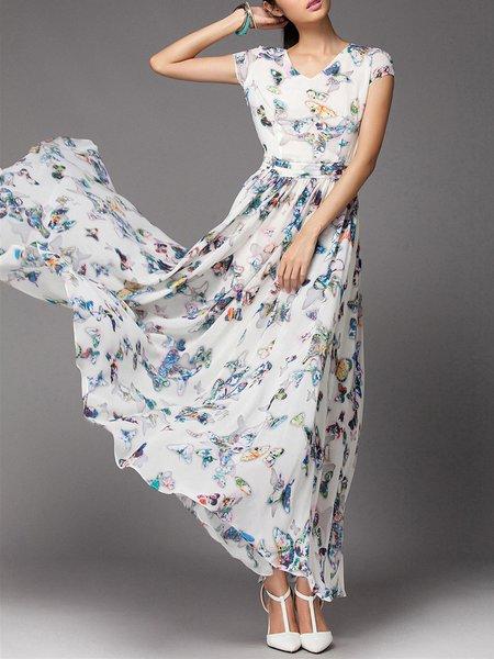 White Sleeveless Floral Maxi Dress