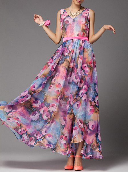 Purple A-line Sleeveless Chiffon Maxi Dress