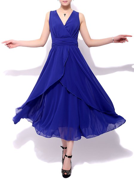 Blue Chiffon Sleeveless Pleated Maxi Dress