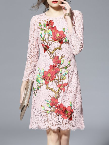 3/4 Sleeve Floral Casual H-line Midi Dress
