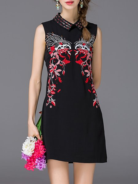 Black Sleeveless Floral Shirt Collar Mini Dress