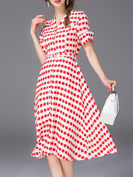 Red Short Sleeve Polka Dots Midi Dress