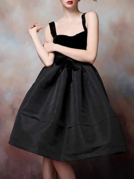 Black Spaghetti Polyester Midi Dress