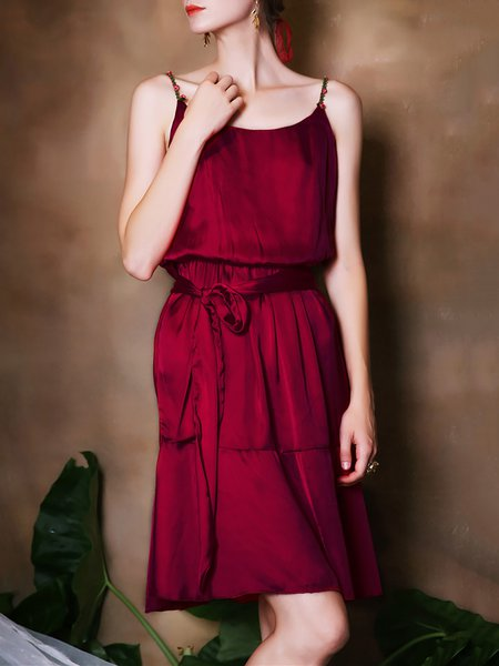 Burgundy A-line Spaghetti Midi Dress