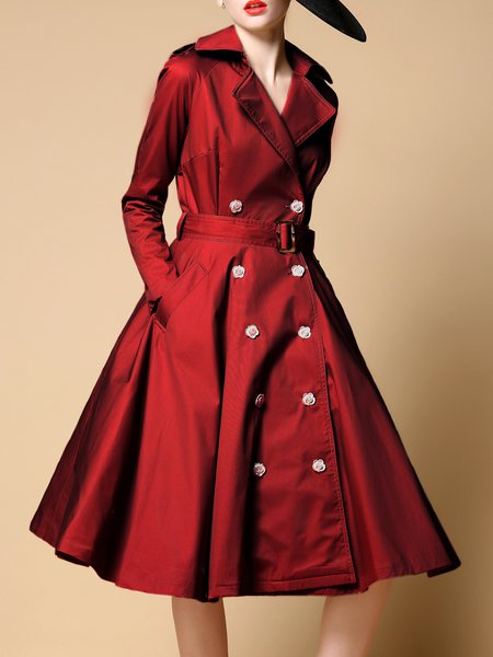 Burgundy  A-line Long Sleeve Midi Dress with Belt