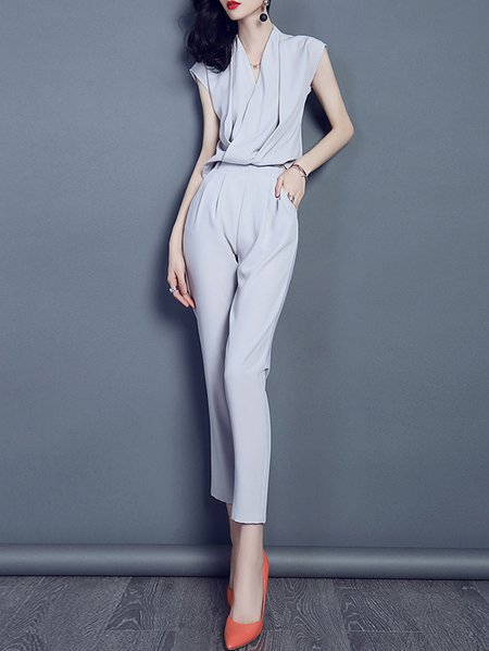 V Neck Sleeveless Pockets Casual Polyester Jumpsuit