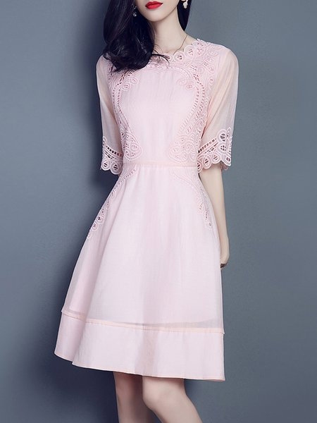 Pink Pierced Half Sleeve Midi Dress