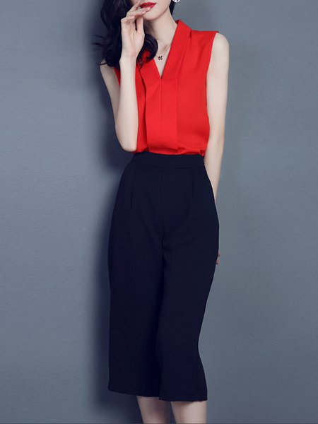 Red V Neck Polyester Sleeveless Two Piece Jumpsuit