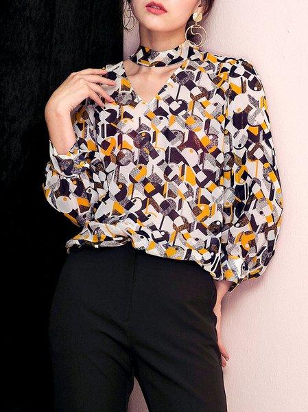 Multicolor Viscose Long Sleeve Blouse