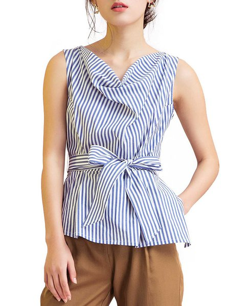 Blue Sleeveless Stripes Blouse