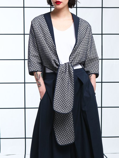 Dark Blue Checkered/Plaid Asymmetric Cotton 3/4 Sleeve Coat