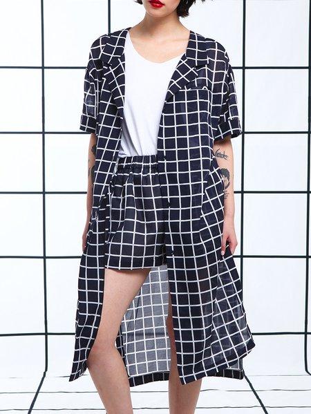 Dark Blue Lapel Checkered/Plaid Casual Coat