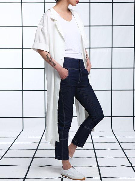 White Slit Plain Cotton Half Sleeve Coat