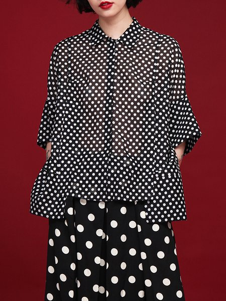 Black 3/4 Sleeve Polka Dots Asymmetric Blouse