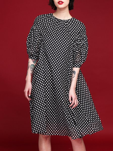 Black Polka Dots Silk-blend H-line Half Sleeve Midi Dress