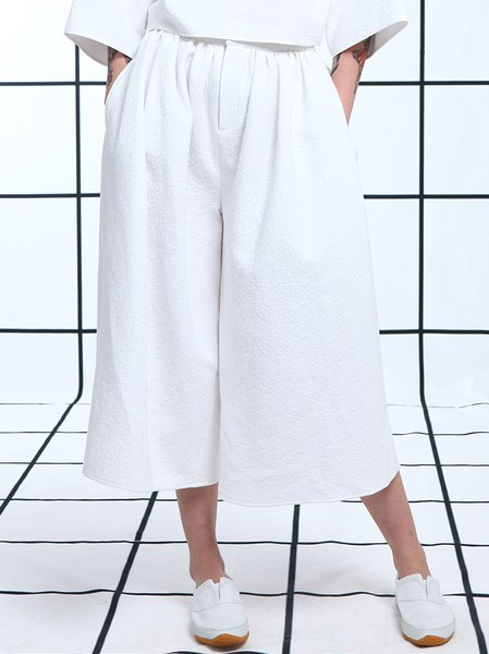 White Plain Casual Wide Leg Pants